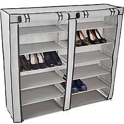 Органайзер для хранение вещей тканевый шкаф для обуви 12 полок Серый