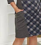 Платье женское большого размера, 50, 52, 54, 56, платье весна-осень, серое в клетку, фото 3