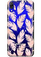 Прозрачный силиконовый чехол iSwag для Blackview A60 с рисунком - Розовые перья H563, КОД: 1429034