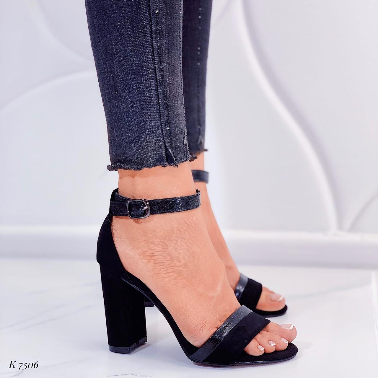 Босоножки женские черные на каблуке 10 см эко- замш + эко-кожа