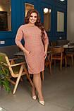 Платье женское большого размера, 50, 52, 54, 56, платье весна-осень, Персиковое в клетку, фото 2