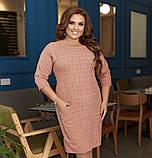 Платье женское большого размера, 50, 52, 54, 56, платье весна-осень, Персиковое в клетку, фото 4