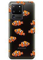 Прозрачный силиконовый чехол iSwag для Samsung Galaxy S20 Ultra Рыбки M1172, КОД: 1604855