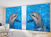 """Фото Шторы """"Дельфин в прозрачной воде"""""""