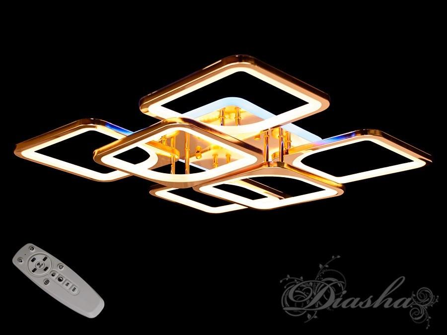 Золота світлодіодна стельова люстра 8060/4+2G LED dimmer