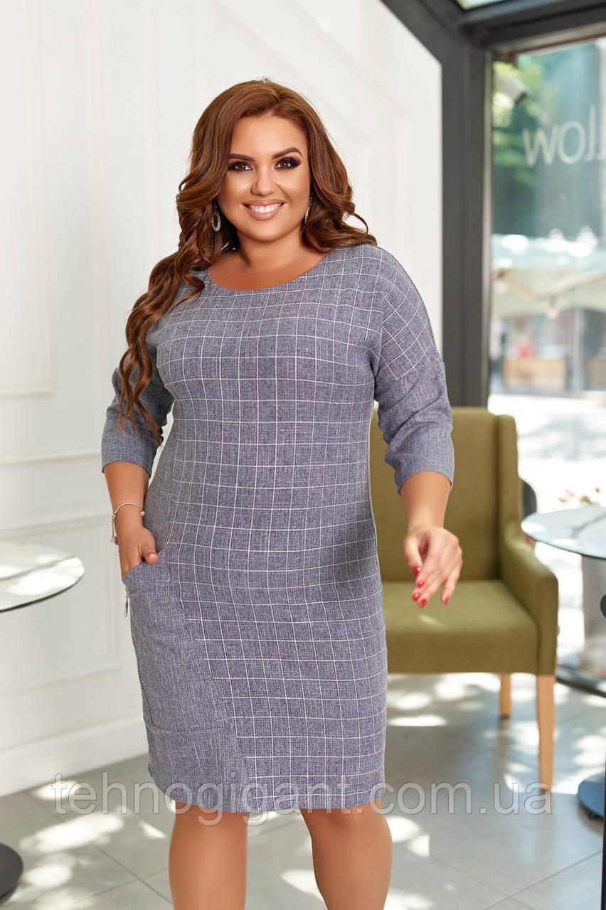 Сукня жіноча великого розміру, 50, 52, 54, 56, плаття весна-осінь, Сіре в клітку