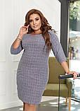 Сукня жіноча великого розміру, 50, 52, 54, 56, плаття весна-осінь, Сіре в клітку, фото 3