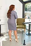 Платье женское большого размера, 50, 52, 54, 56, платье весна-осень, Серое в клетку, фото 5