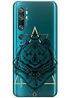 Прозрачный силиконовый чехол iSwag для Xiaomi Mi Note 10 Pro с рисунком - Медведь индеец H356, КОД: 1398337