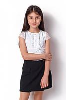 Школьная белая блуза для девочки р.  140
