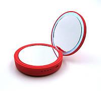 Зеркало косметическое SmartMirror с LED подсветкой Power Bank 4000Mah Красное SM-L3-R, КОД: 1782368