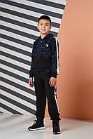 Спортивный костюм для мальчика Angelir Метро 146 см Черный с голубым 770525, КОД: 1746401