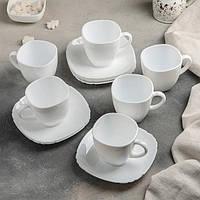 Сервиз чайный белый с квадратными чашками Luminarc Lotusia white 220х6 (Н1789)