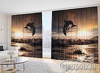 "Фото Шторы ""Дельфин на волнах и закате"""