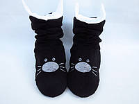Милые флисовые тапочки-сапожки=Котики=тепло и комфортно,черные