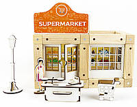 Деревянный эко-конструктор Zevs-toys Супермаркет 54 детали 4003224, КОД: 1187184