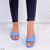 Только на 23,5 см! Шлепанцы женские голубые эко-кожа, фото 4