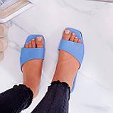Только на 23,5 см! Шлепанцы женские голубые эко-кожа, фото 3