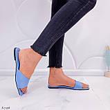 Только на 23,5 см! Шлепанцы женские голубые эко-кожа, фото 9