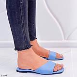 Только на 23,5 см! Шлепанцы женские голубые эко-кожа, фото 6