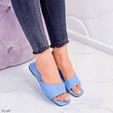 Только на 23,5 см! Шлепанцы женские голубые эко-кожа, фото 10