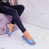 Только на 23,5 см! Шлепанцы женские голубые эко-кожа, фото 5