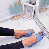 Только на 23,5 см! Шлепанцы женские голубые эко-кожа, фото 7