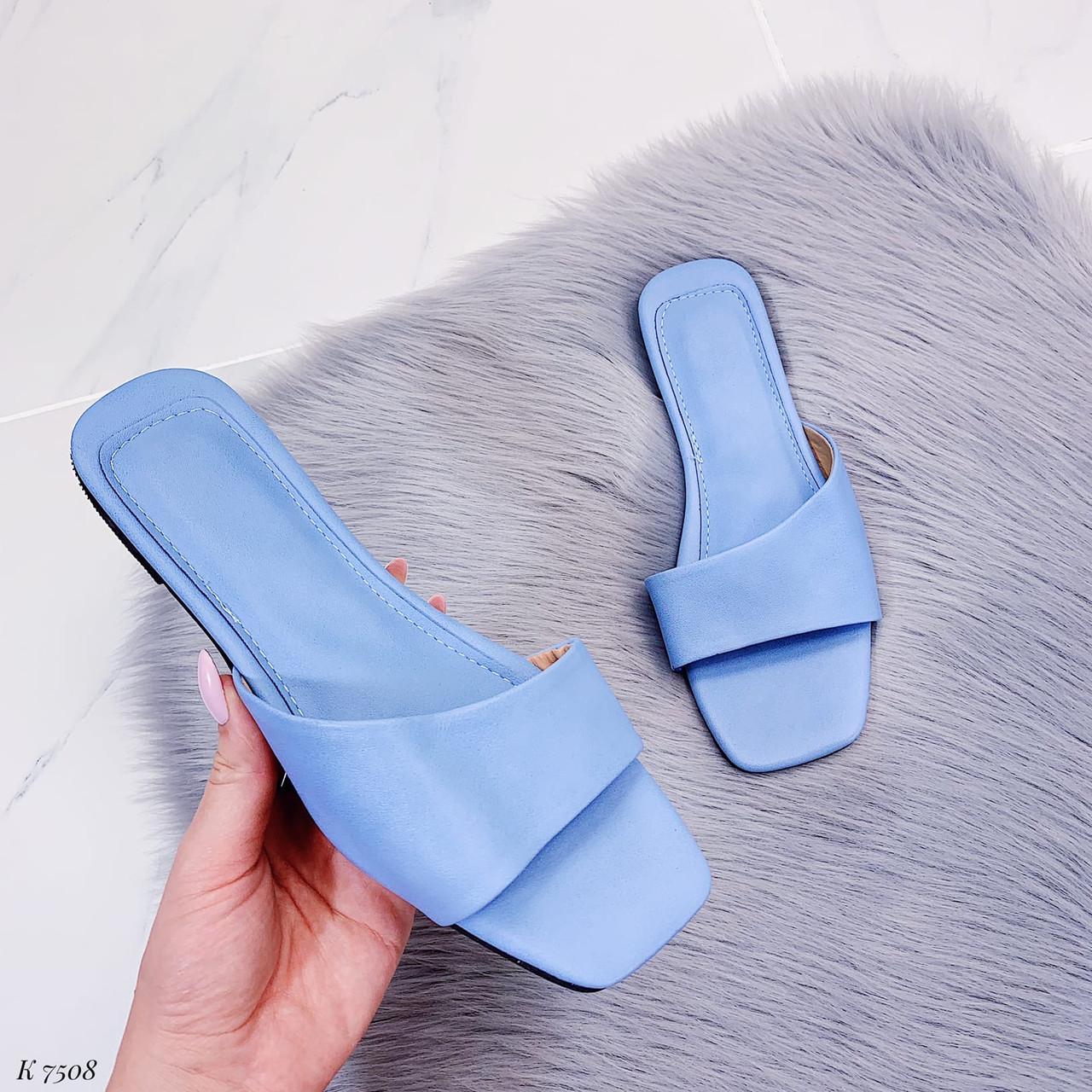 Только на 23,5 см! Шлепанцы женские голубые эко-кожа