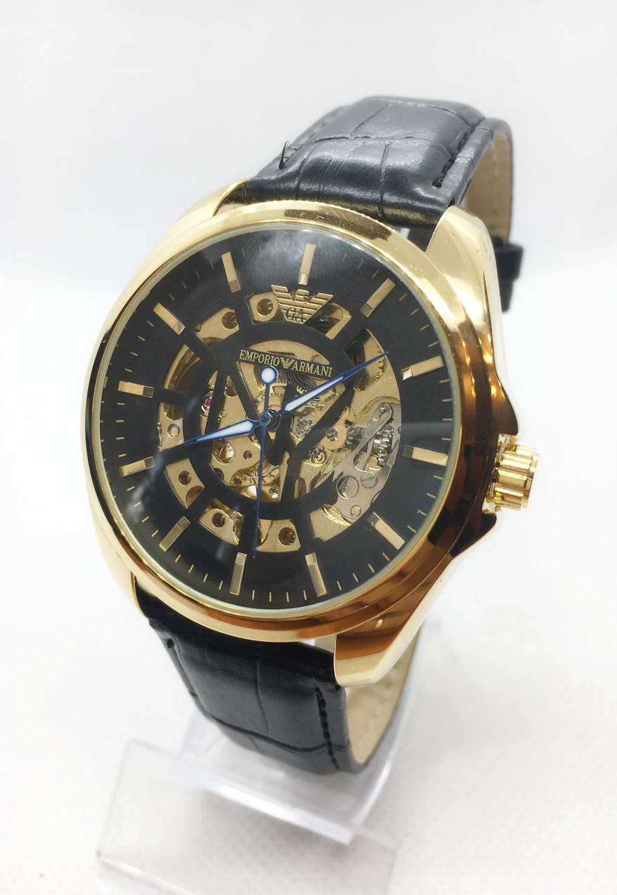 Мужские механические часы Emporio Armani  (Эмпорио Армани), золото с черным ремешком ( код: IBW407YBB )