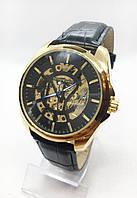 Мужские механические часы Emporio Armani  (Эмпорио Армани), золото с черным ремешком ( код: IBW407YBB ), фото 1