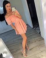 Платье, Ткань: Шифон,  р-р 42-44, 44-46, цвет ( Белый, Чёрный, Красный, Персик, Сирень )