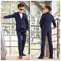 Детский брючный костюм пиджак и штаны синий и серый школьная форма для мальчика размер:116,122,128,134,140,146