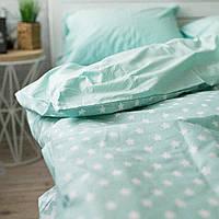 Комплект постельного белья Хлопковые Традиции семейный 200x220 Белый с мятным PF016семейный, КОД: 740618