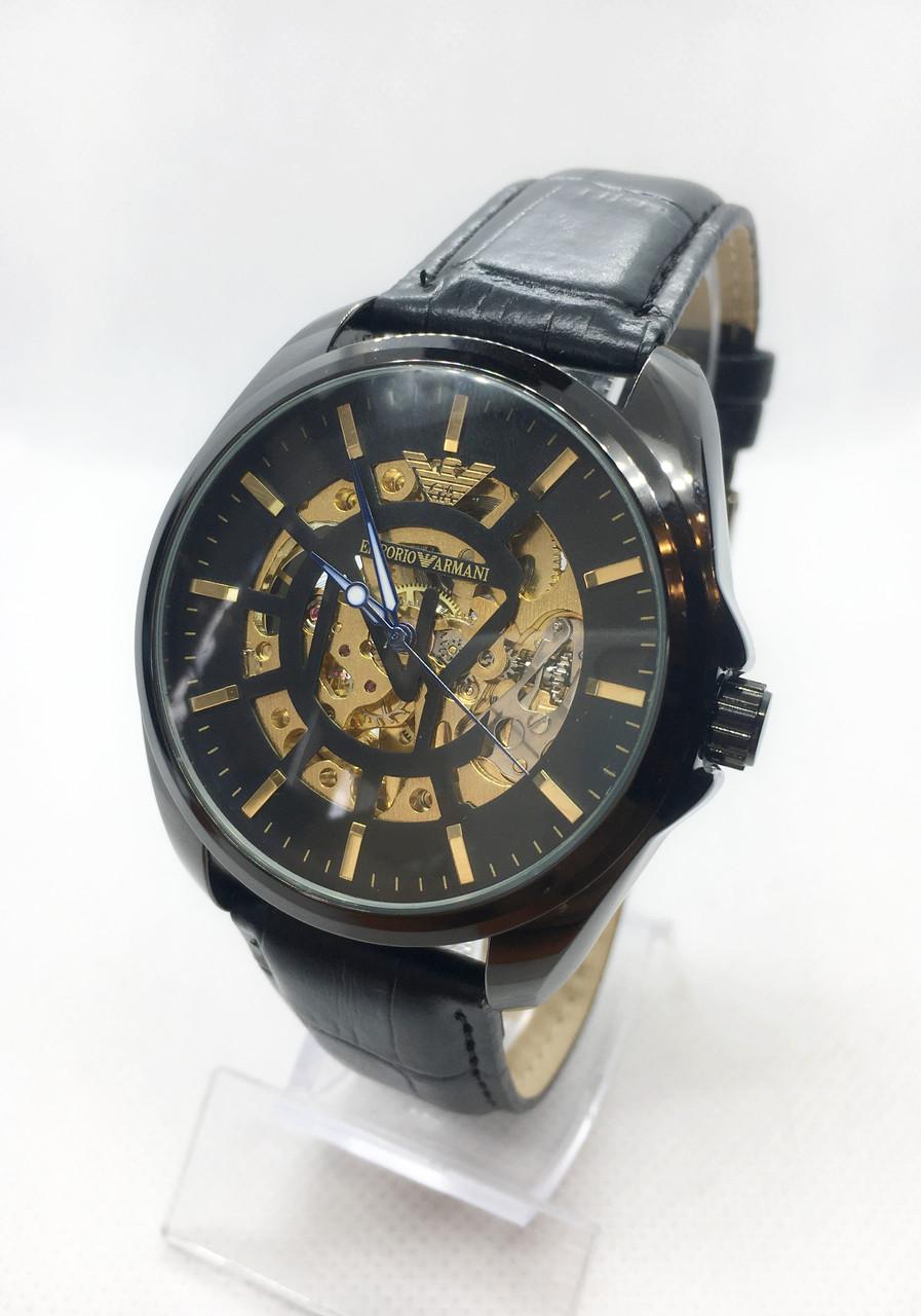 Мужские механические часы Emporio Armani  (Эмпорио Армани), черные ( код: IBW407B )