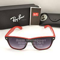 Женские солнцезащитные очки Ray Ban Wayfarer RB 2140 красные унисекс рей бен мода реплика
