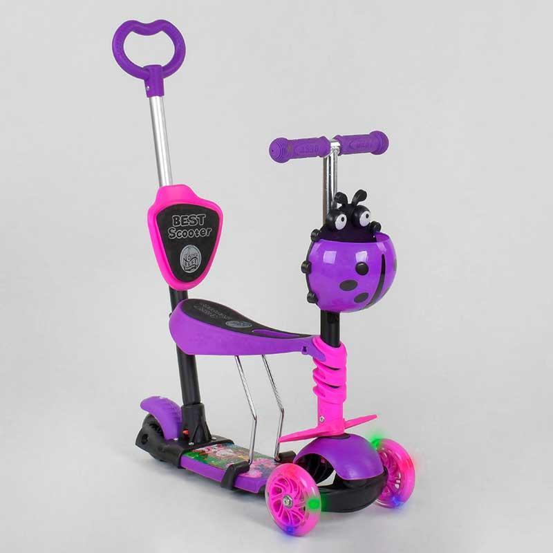 Самокат детский 5в1 Best Scooter 47365 Фиолетово- розовый, светятся колеса
