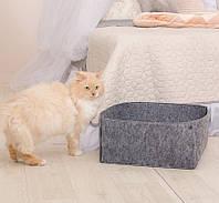 Корзина-лежак для животных Digitalwool на кнопках с подушкой Серый DW-92-06, КОД: 1103748
