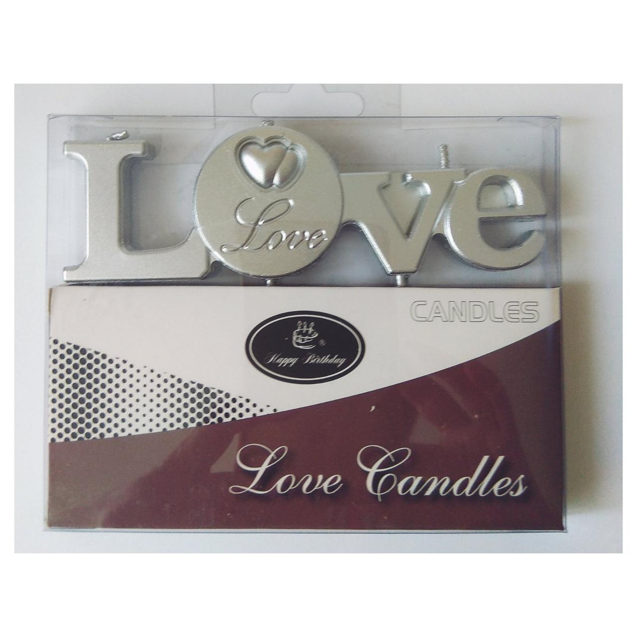 """Свечи для торта    """"LOVE серебро """""""