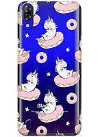 Прозрачный силиконовый чехол iSwag для Blackview A60 с рисунком - Единороги на пончиках H597, КОД: 1429061