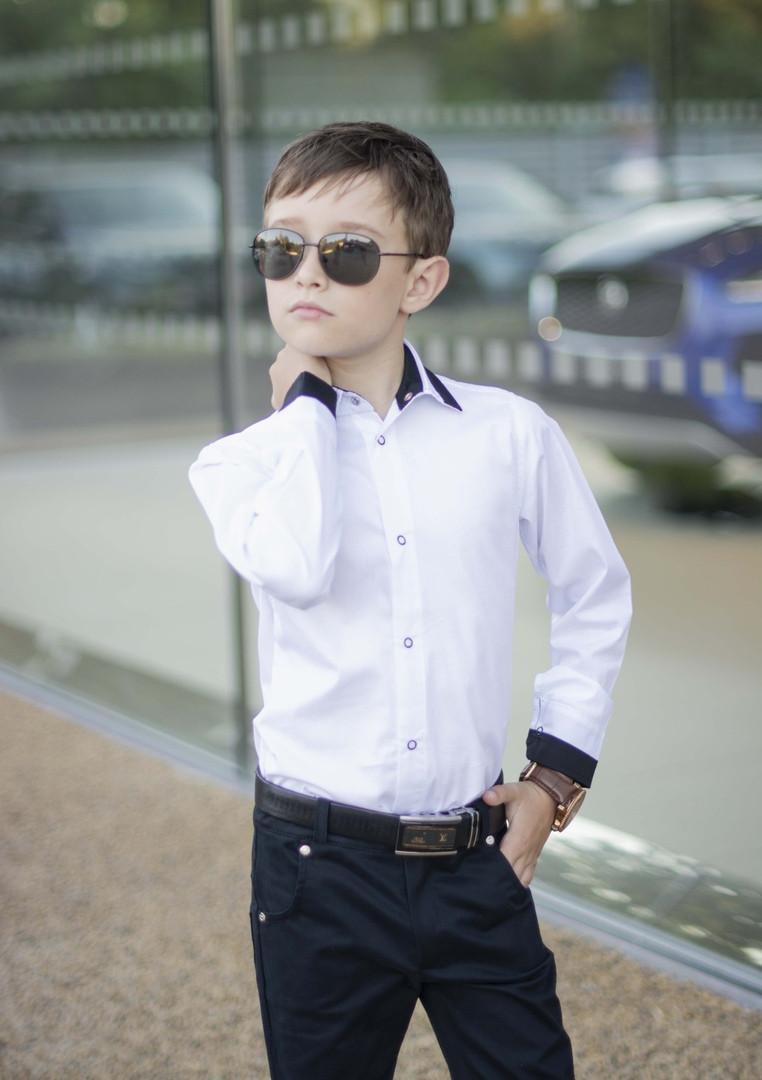 Белая рубашка подросток рубашка в школу для мальчика школьная форма размер:122-146