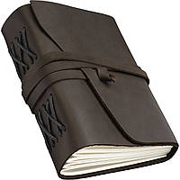 Кожаный блокнот COMFY STRAP В6 12.5 х 17.6 х 3.5 см Чистый лист Темно-коричневый 019, КОД: 1549653
