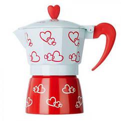 Кофеварка гейзерная MHZ R16593 Hearts 3 чашки Бело-красный 006551, КОД: 950137