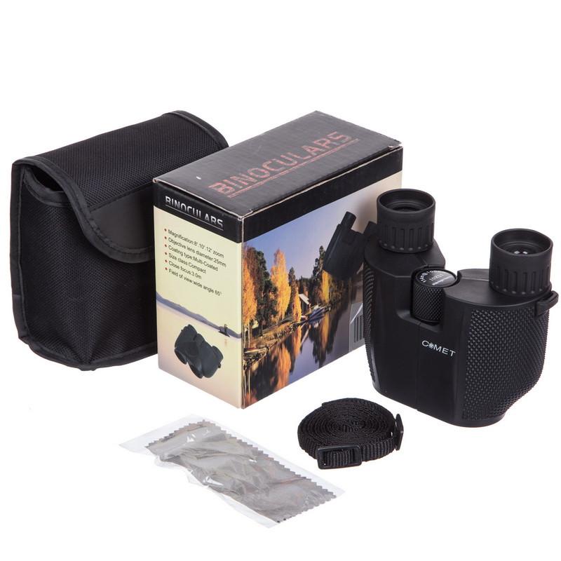 Бинокль COMET 10х25, пластик, стекло, PVC-чехол, черный (TY-1645)