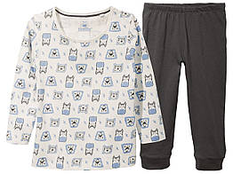 Пижама лонгслив и брюки Lupilu 86-92 см Темно-серый 286909, КОД: 1666378