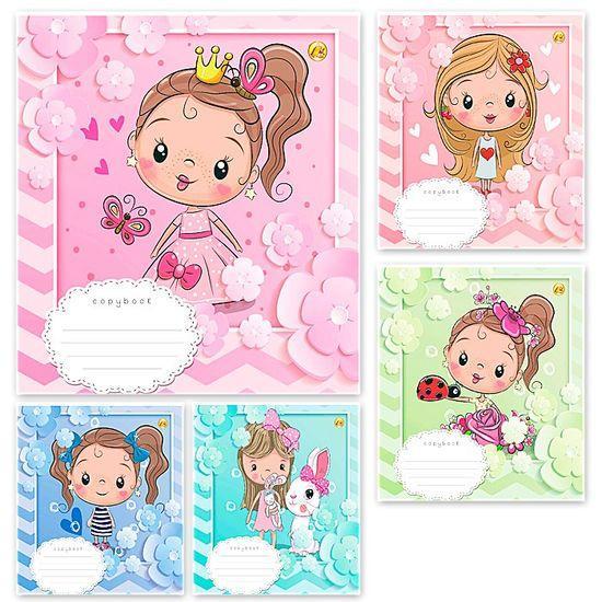 Тетрадь школьная в клеточку 12 листов Тетрада, принцессы