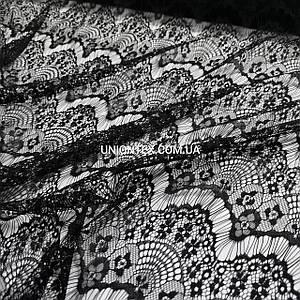 Ткань гипюр реснички тонкий черный
