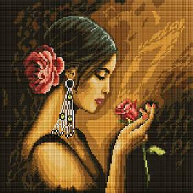 Алмазная вышивка мозаика Белоснежка Испанская красавица 40 х 40 RN 178, КОД: 395361