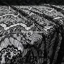 Ткань гипюр реснички тонкий черный, фото 2
