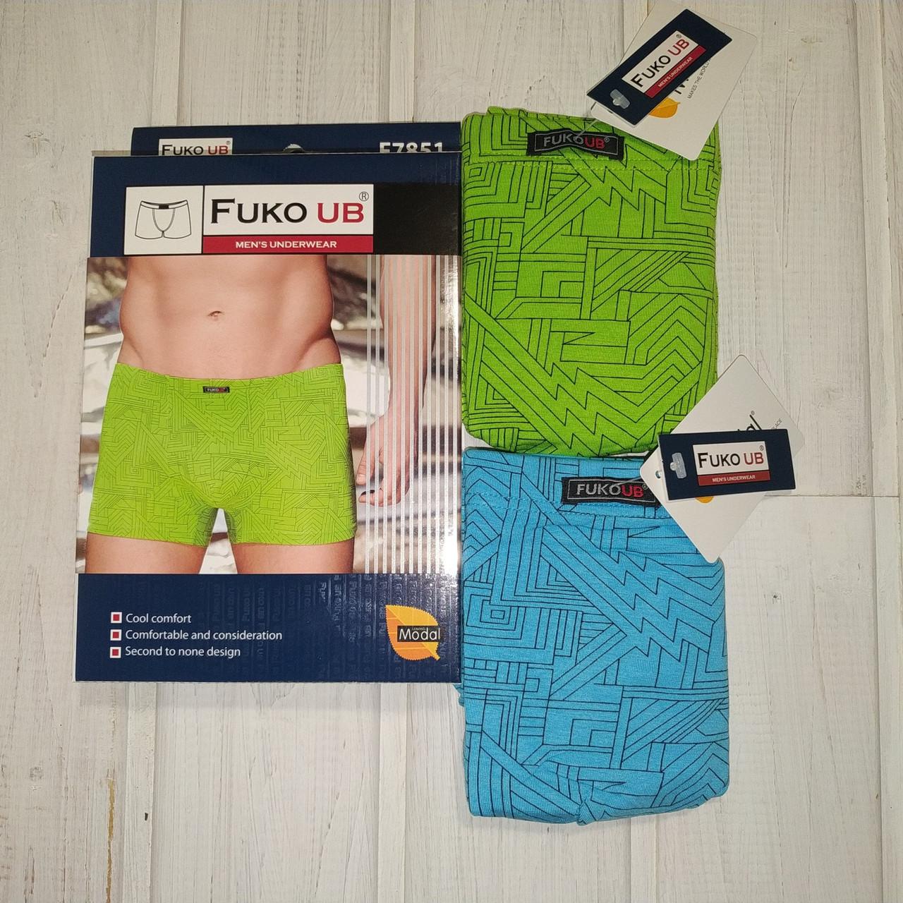 Трусы шорты Fuko Ub 7851  комплект 2шт XXL  бирюзовый и зелёный модал