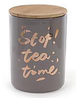 Банка фарфоровая Bona Tea time с бамбуковой крышкой 1225 мл Серая psgBD-945-124, КОД: 944940